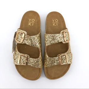 Yoki Glitter Sandals Flatbed Buckle Bork Shoes New